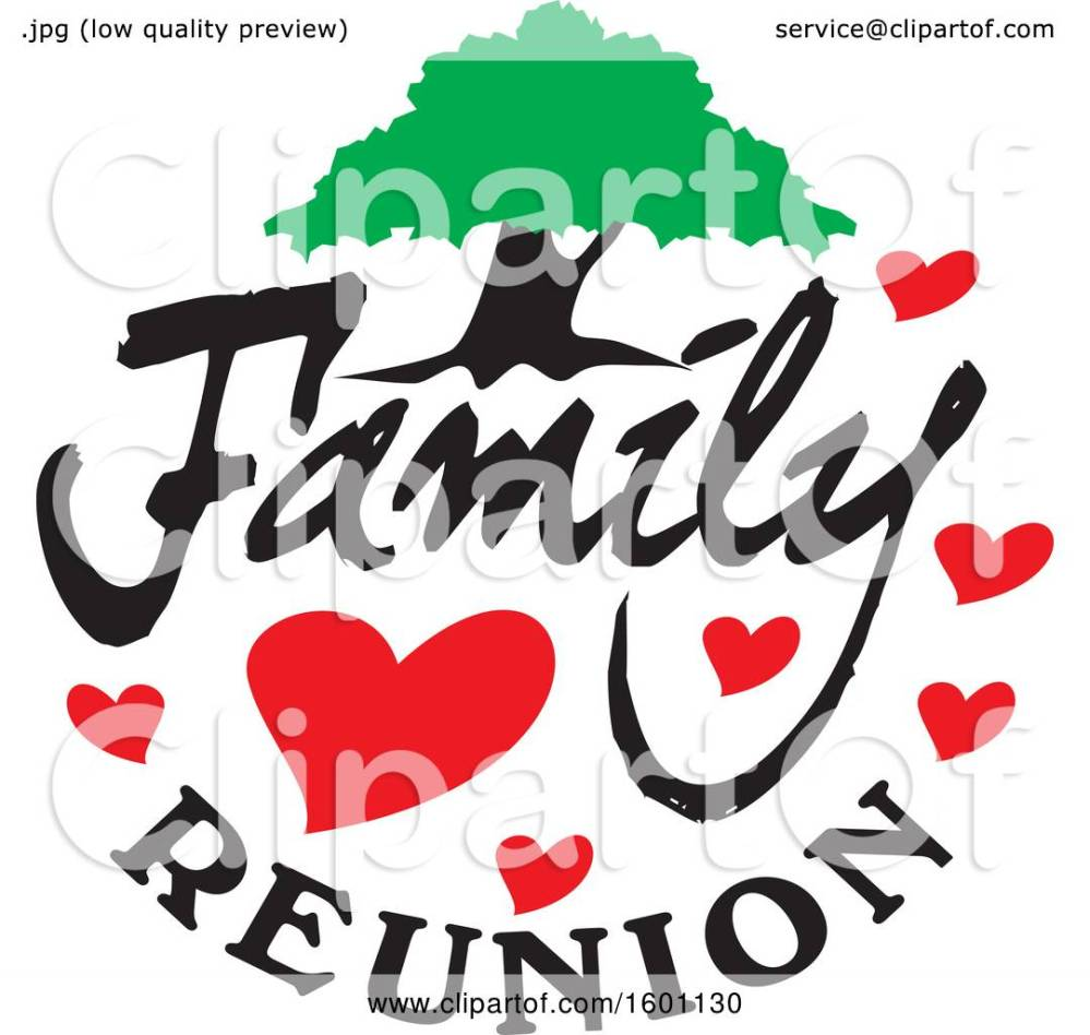 medium resolution of clipart of a family reunion design with a tree and hearts royalty free vector illustration by