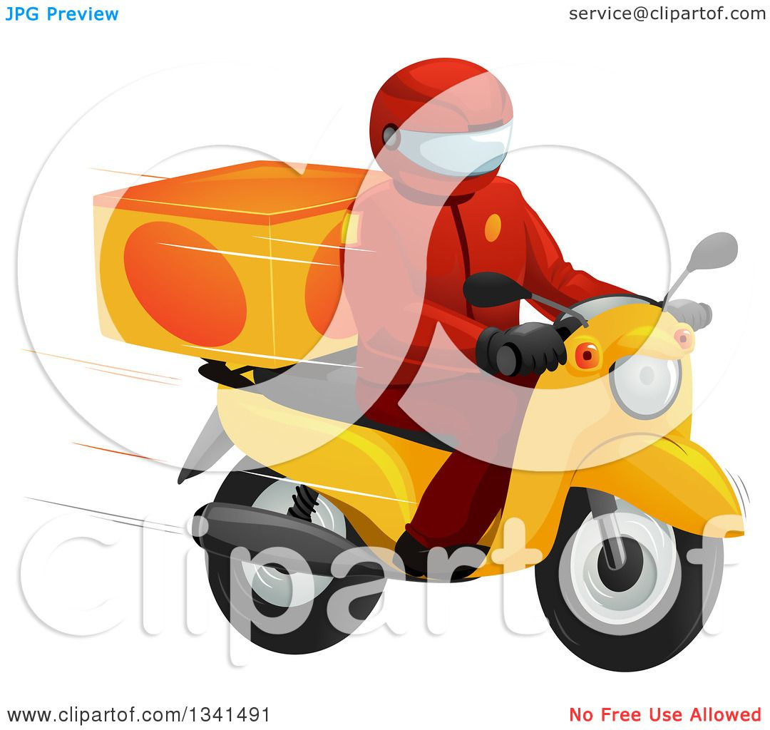 Clipart of a Fast Food Delivery Driver on a Motorcycle