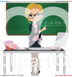 clipart of a female math teacher at a desk with a computer by a chalkboard royalty free vector illustration by melisende vector [ 1080 x 1024 Pixel ]