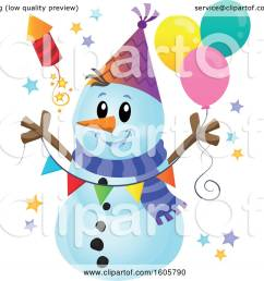 clipart of a festive party snowman with balloons and a firework royalty free vector illustration [ 1080 x 1024 Pixel ]
