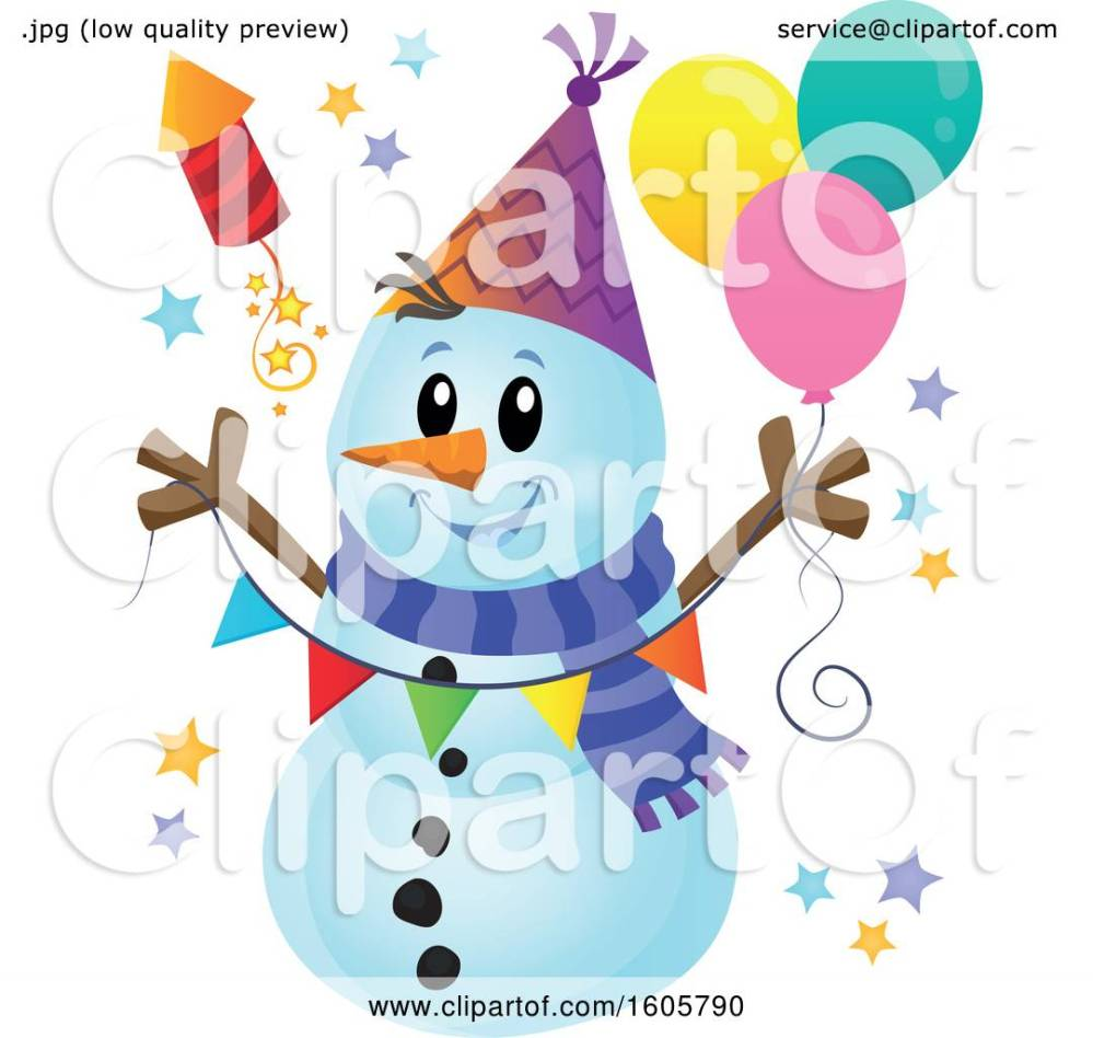 medium resolution of clipart of a festive party snowman with balloons and a firework royalty free vector illustration