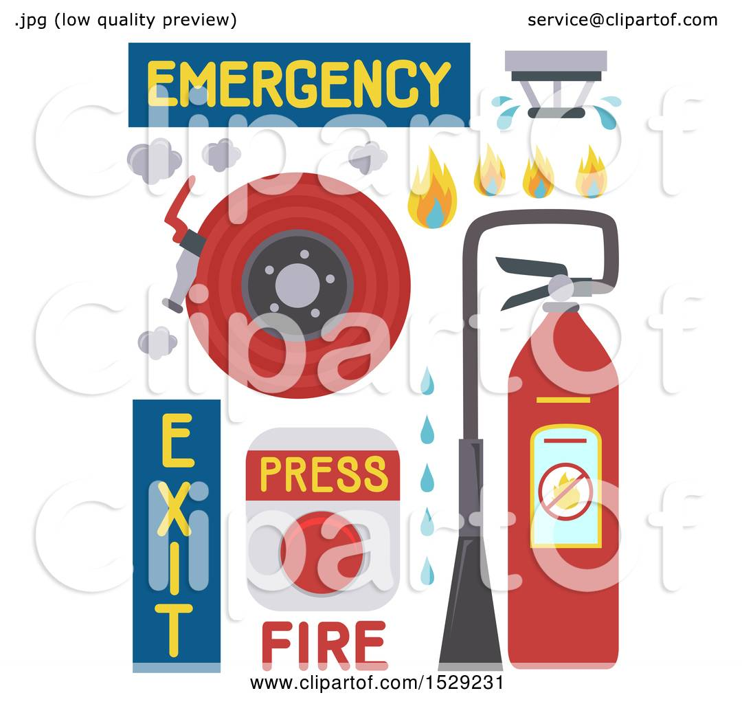 hight resolution of clipart of a fire alarm fire extinguisher fire hose and sprinkler royalty free