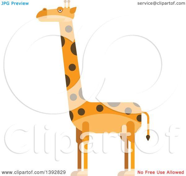 Clipart Of Flat Design Giraffe - Royalty Free Vector