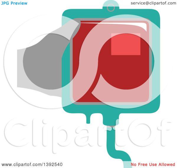Clipart Of Flat Design Hand Holding Blood Bag