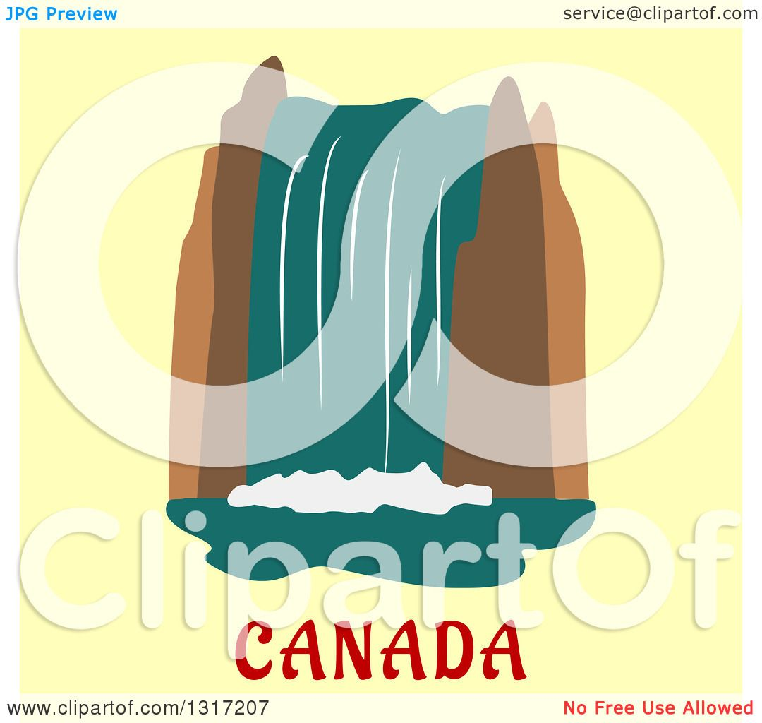 Clipart Of A Flat Design Of Niagara Falls Over Canada Text On Yellow
