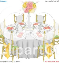 clipart of a formal wedding reception dinner table royalty free vector illustration by bnp design [ 1080 x 1024 Pixel ]