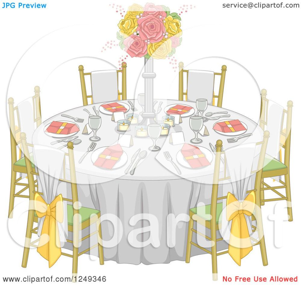 medium resolution of clipart of a formal wedding reception dinner table royalty free vector illustration by bnp design