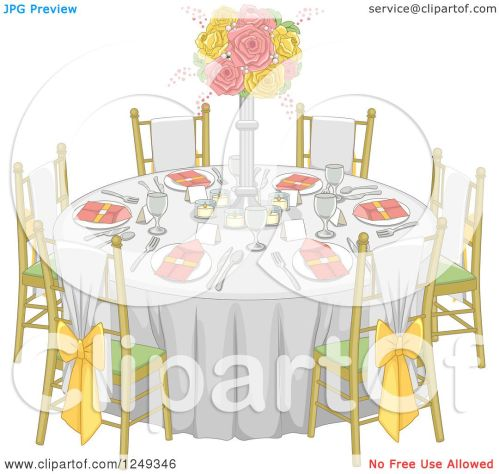 small resolution of clipart of a formal wedding reception dinner table royalty free vector illustration by bnp design