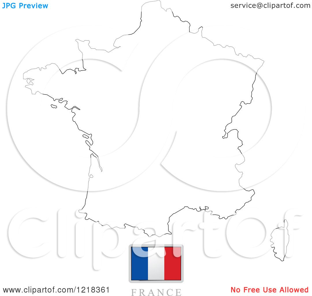 Clipart Of A France Flag And Map Outline
