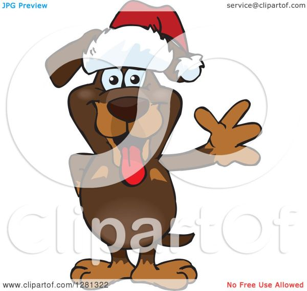 clipart of friendly waving dachshund