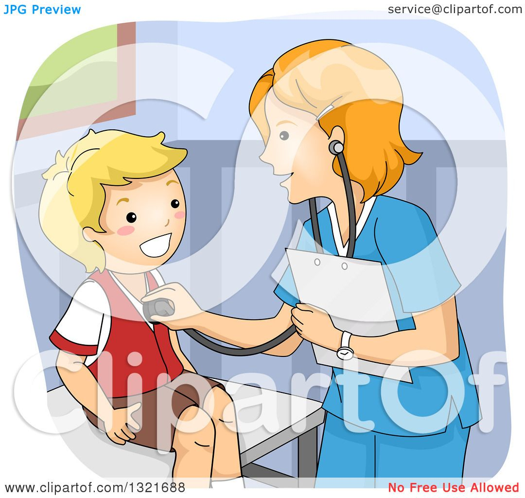 Clipart Of A Friendly White Female Doctor Giving A Happy
