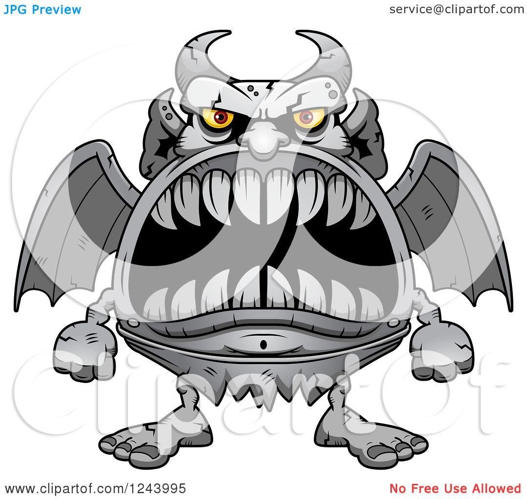 hight resolution of clipart of a gargoyle monster with big teeth royalty free vector illustration by cory thoman