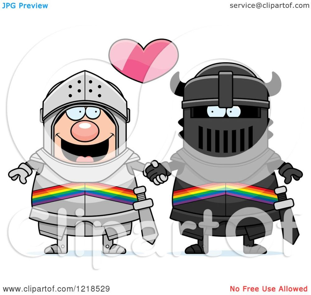 medium resolution of clipart of a gay knight couple holding hands under a heart 2 royalty free vector illustration by cory thoman