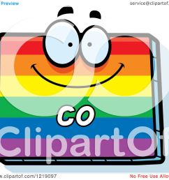 clipart of a gay rainbow state of colorado character royalty free vector illustration by cory thoman [ 1080 x 1024 Pixel ]