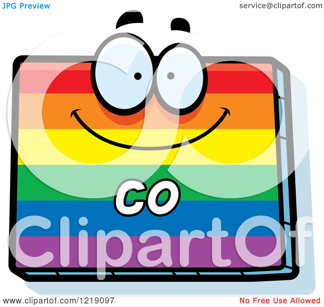 hight resolution of clipart of a gay rainbow state of colorado character royalty free vector illustration by cory thoman