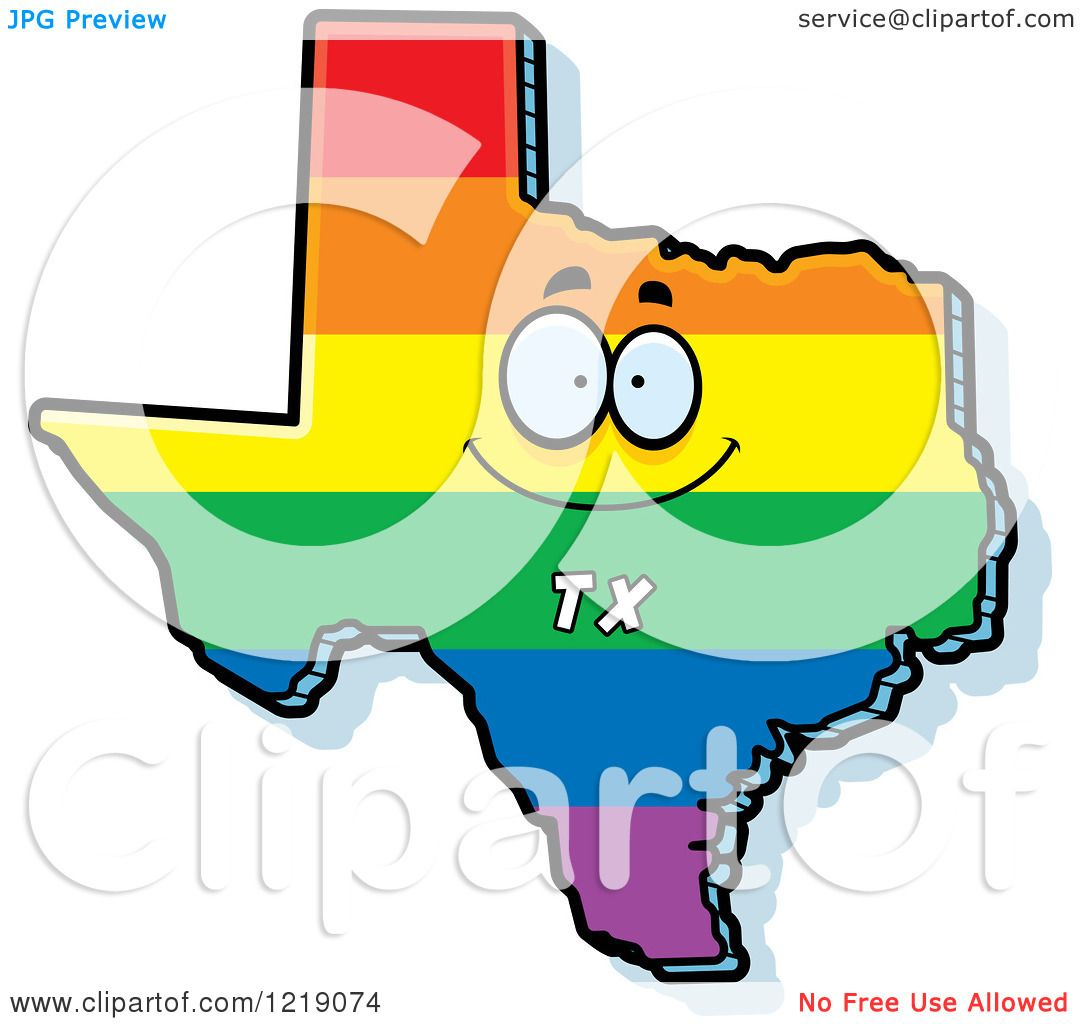 hight resolution of clipart of a gay rainbow state of texas character royalty free vector illustration by cory thoman