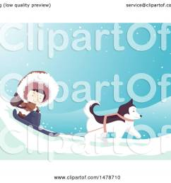 clipart of a girl eskimo and husky dog sledding royalty free vector illustration by bnp [ 1080 x 1024 Pixel ]