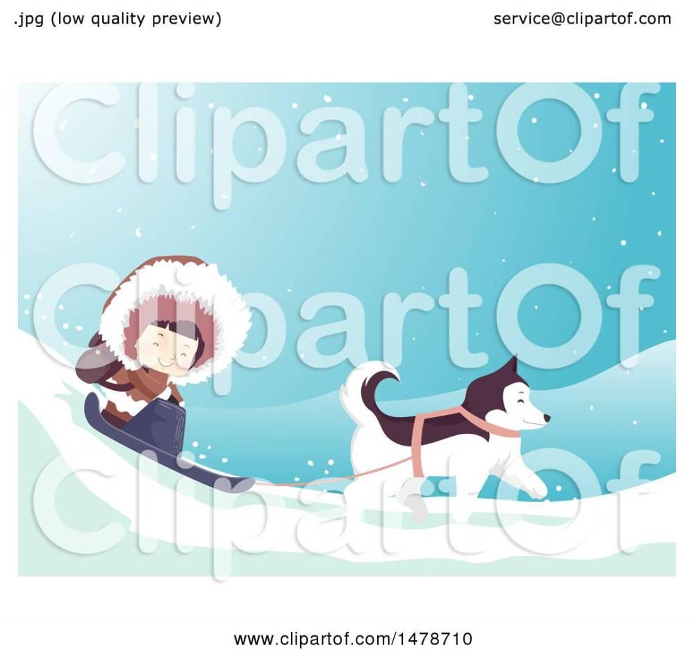 medium resolution of clipart of a girl eskimo and husky dog sledding royalty free vector illustration by bnp