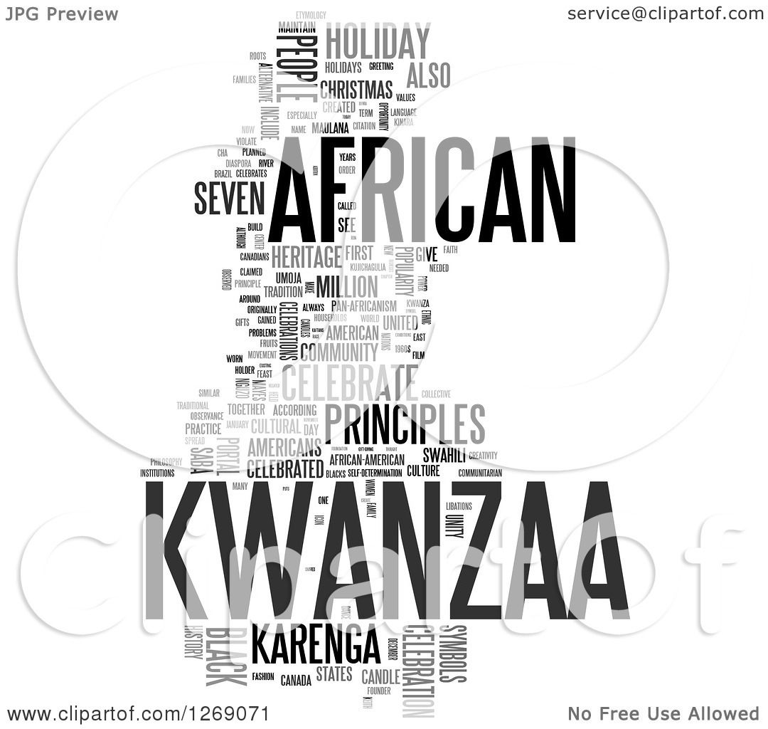 Clipart Of A Gray Kwanzaa Word Tag Collage On White