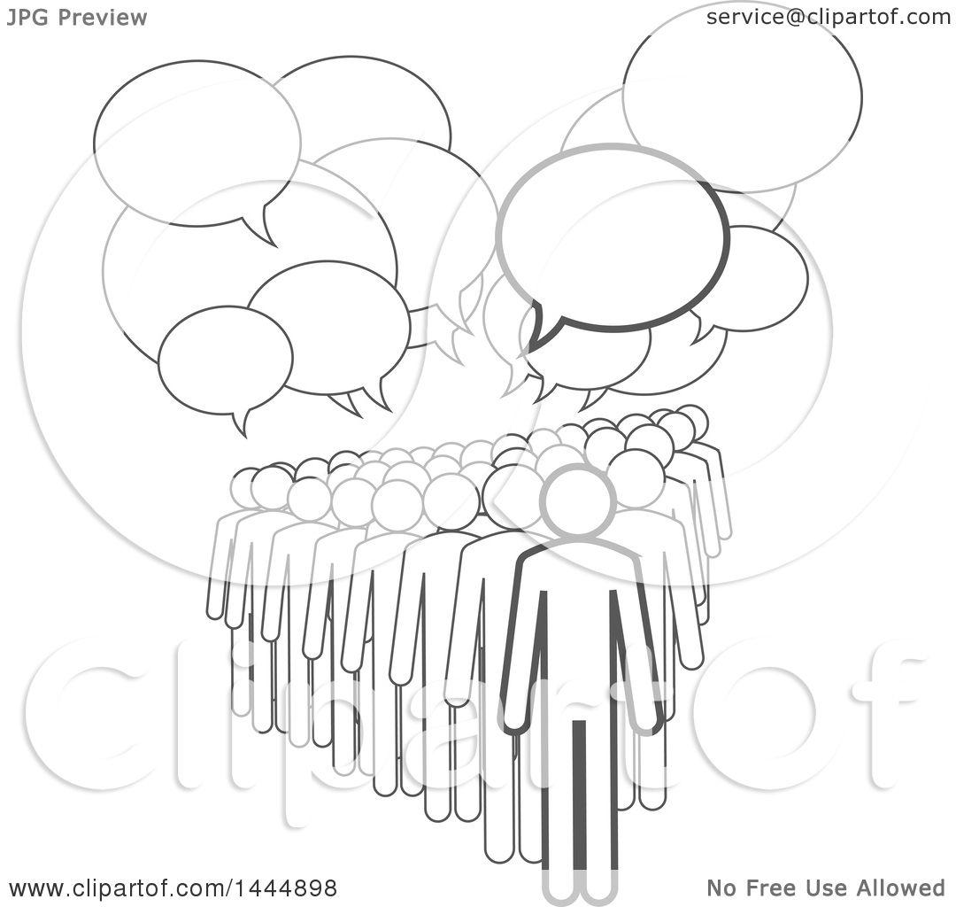Clipart Of A Gray Lineart Crowd Under Speech Balloons