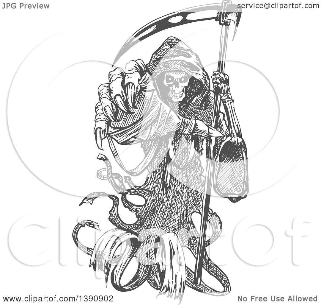 Clipart Of A Gray Sketched Grim Reaper Holding A Scythe