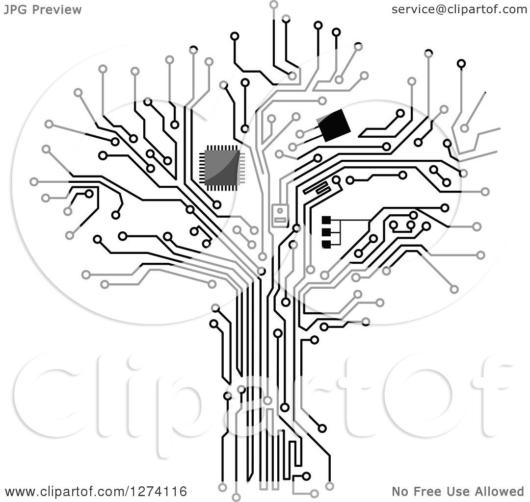 Clipart Of A Grayscale Computer Chip And Circuit Tree 2