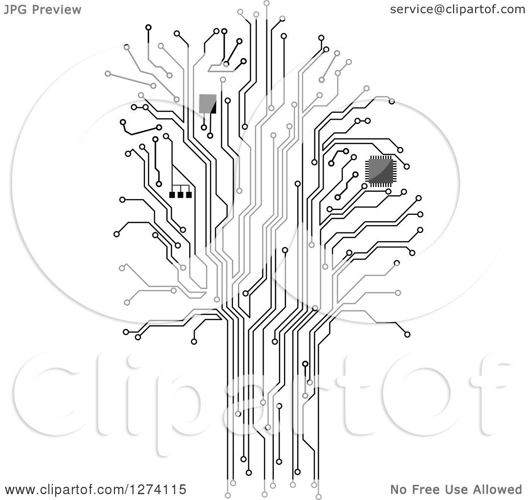 Clipart of a Grayscale Computer Chip and Circuit Tree