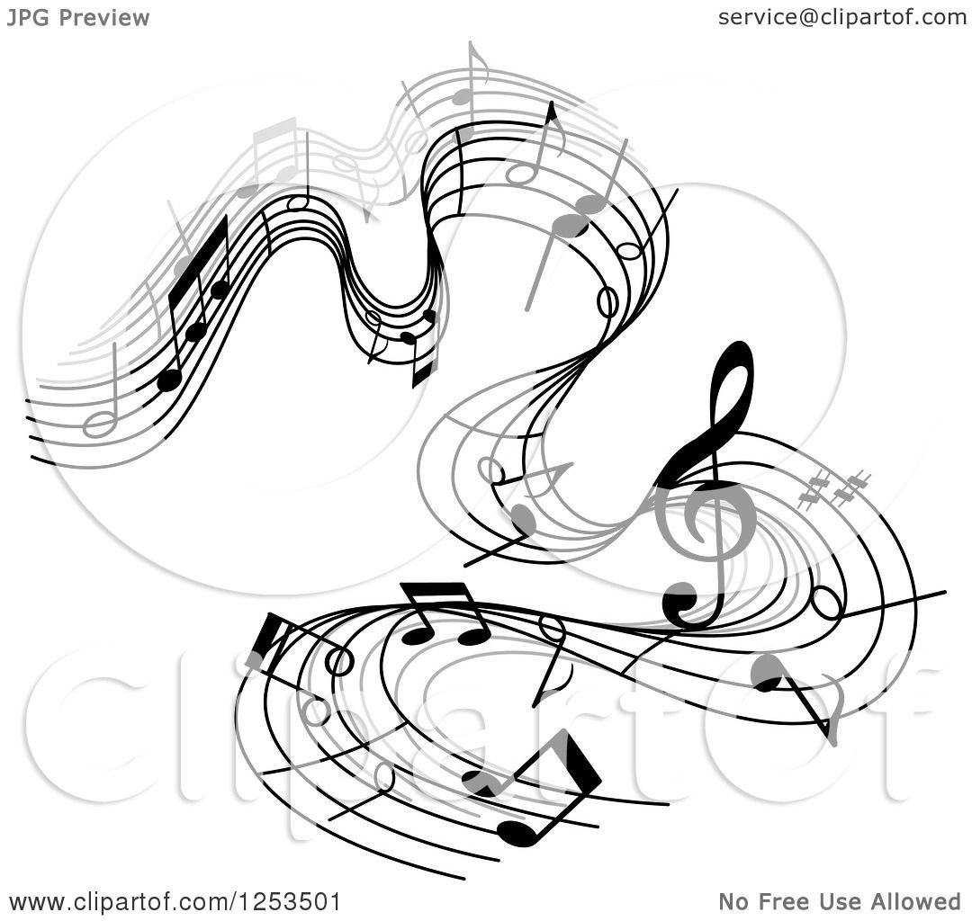 Pin Music Notes Flowing Through Rainbow Background By