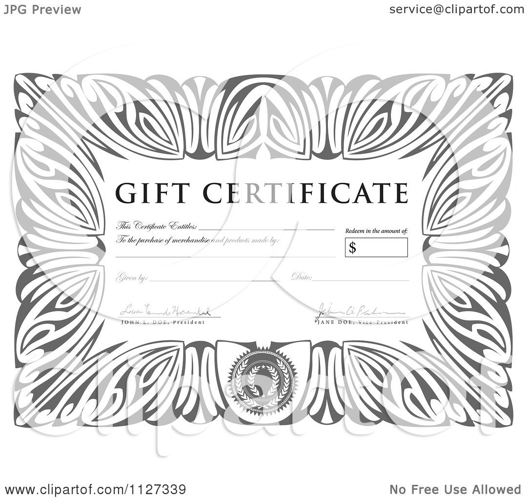 Clipart Of A Grayscale Gift Certificate With Sample Text