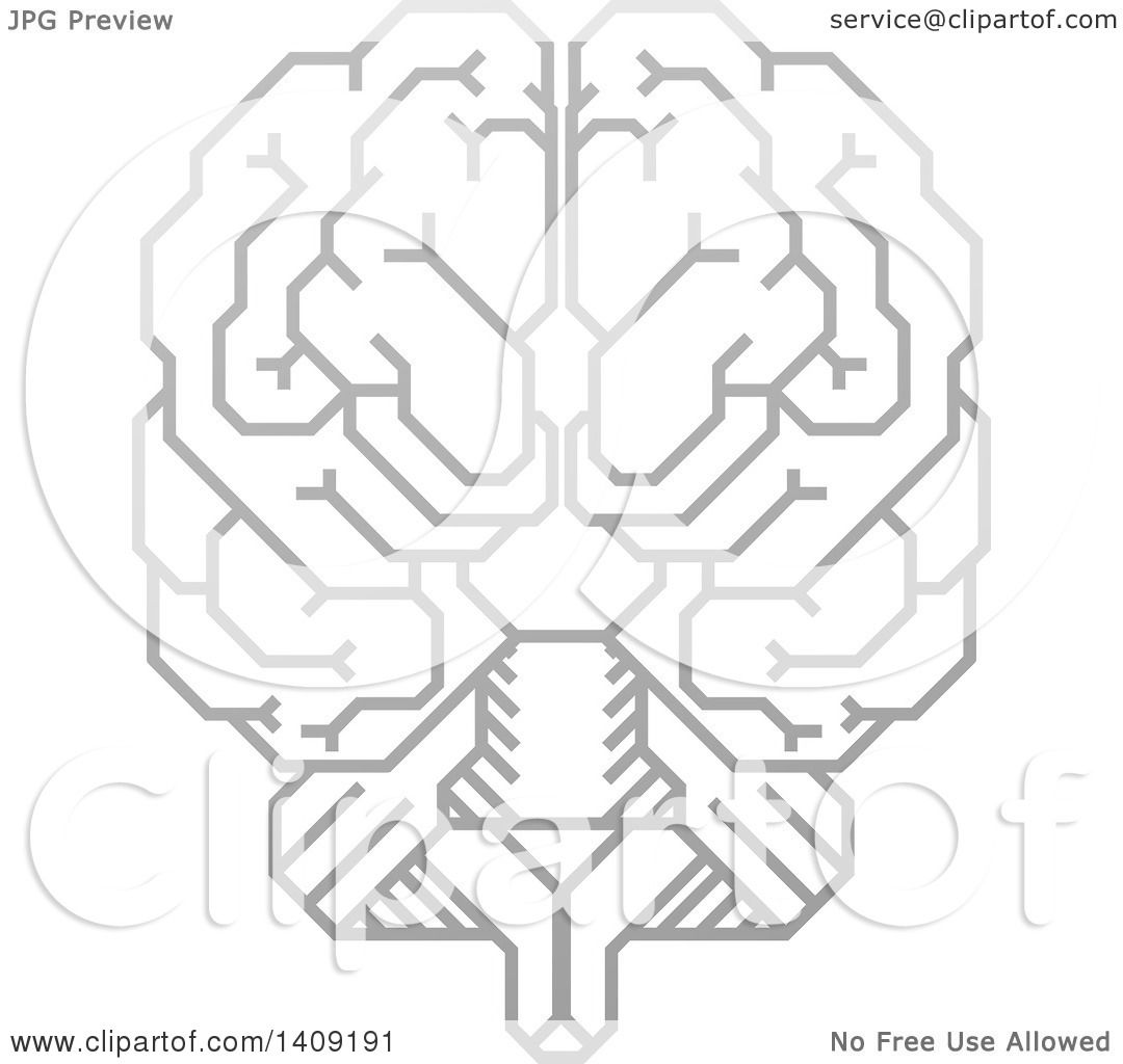 Clipart Of A Grayscale Gra Nt Human Brain With