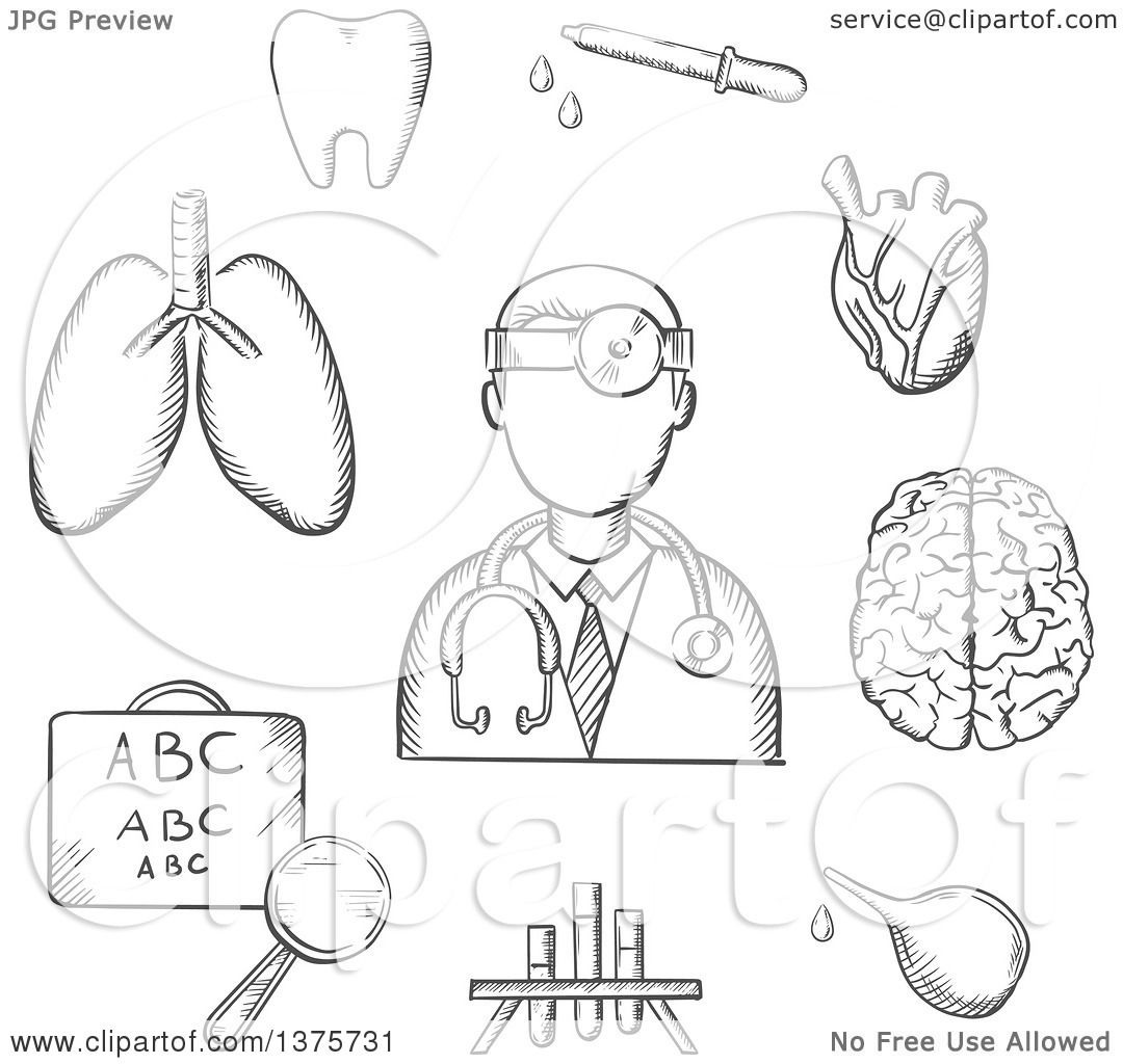 Clipart of a Grayscale Sketched Doctor Encircled by an Eye