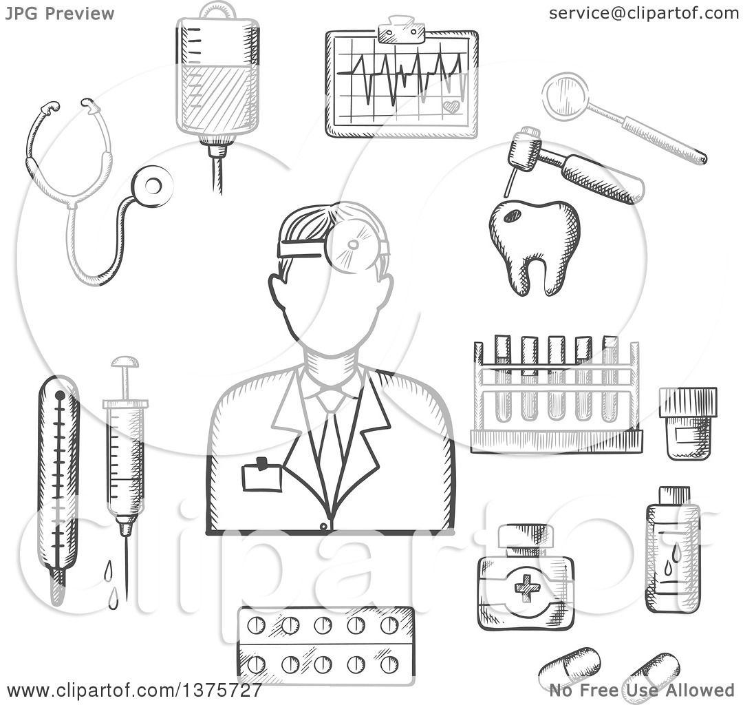Clipart of a Grayscale Sketched Doctor with Medical Icons