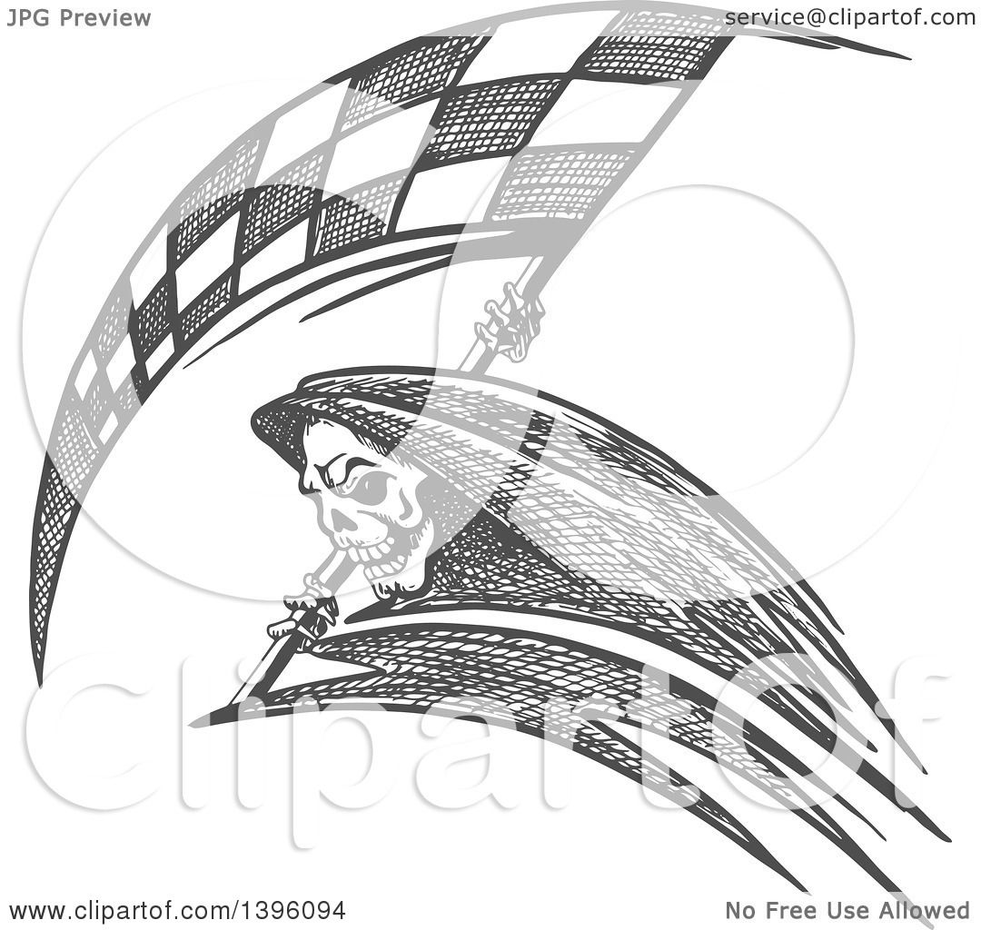 Clipart Of A Grayscale Sketched Grim Reaper With A Racing