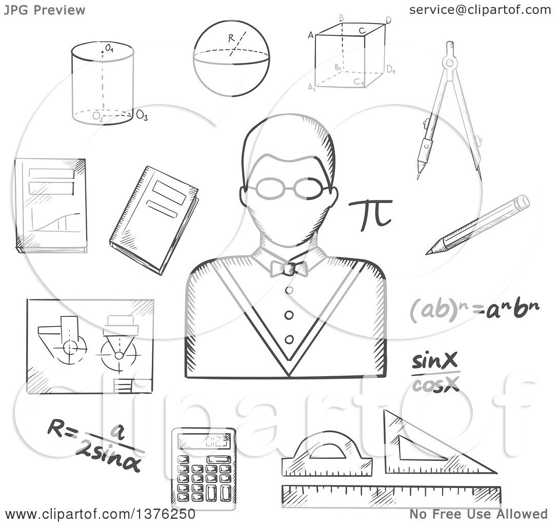 Clipart Of A Grayscale Sketched Male Teacher In Glasses