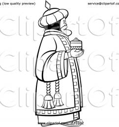 clipart of a grayscale wise man holding a gift royalty free vector illustration by lal [ 1080 x 1024 Pixel ]