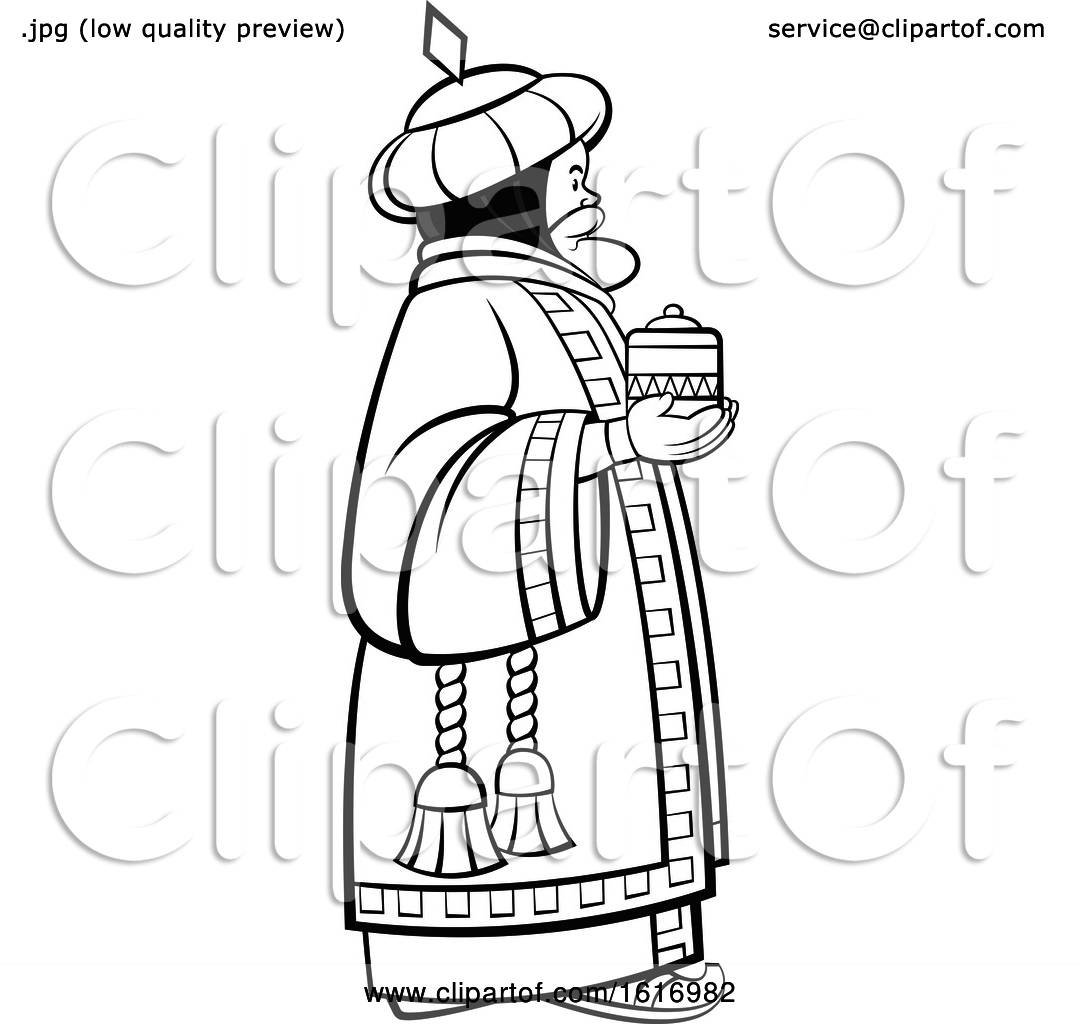 hight resolution of clipart of a grayscale wise man holding a gift royalty free vector illustration by lal