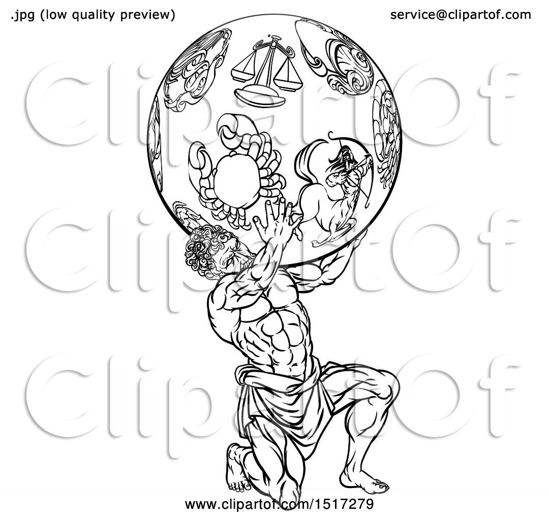 Clipart Of A Greek Mythology Titan Atlas Holding Up A