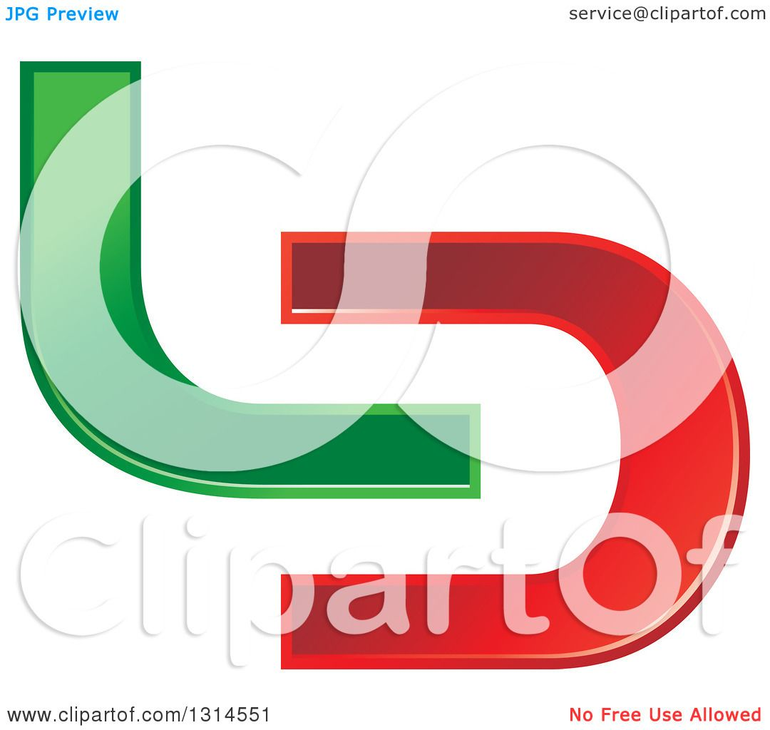 hight resolution of clipart of a green and red abstract letter l d design royalty free vector illustration by