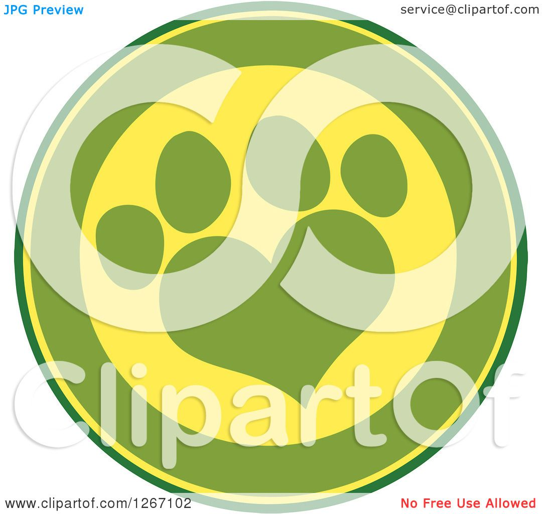 Clipart Of A Green And Yellow Circle With A Heart Shaped