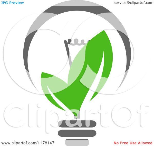 Clipart Of Green Leaf Sustainable Energy Lightbulb 4