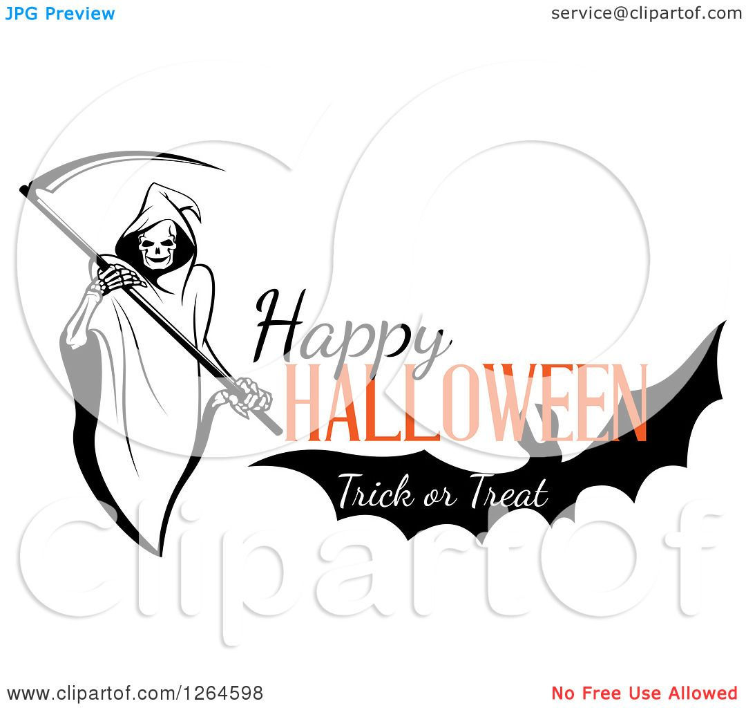Clipart Of A Grim Reaper And Bat With Happy Halloween