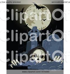 clipart of a grim reaper skeleton rising from a grave under a halloween full moon with bats royalty free vector illustration by pushkin [ 1080 x 1024 Pixel ]