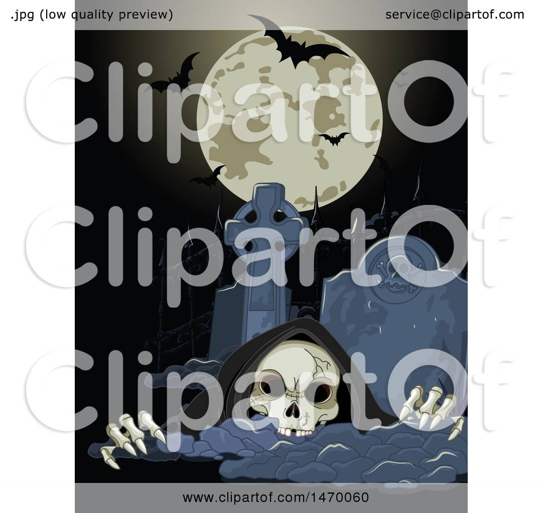 hight resolution of clipart of a grim reaper skeleton rising from a grave under a halloween full moon with bats royalty free vector illustration by pushkin