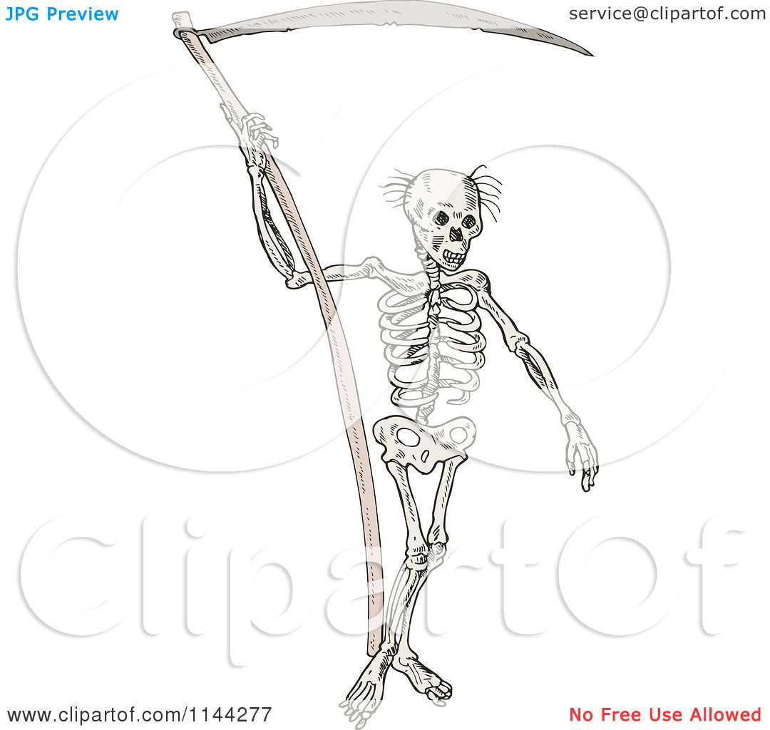 Clipart Of A Grim Reaper Skeleton With A Scythe