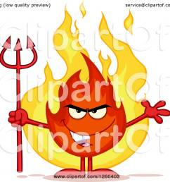 clipart of a grinning evil fireball flame character holding a pitchfork royalty free vector illustration [ 1080 x 1024 Pixel ]