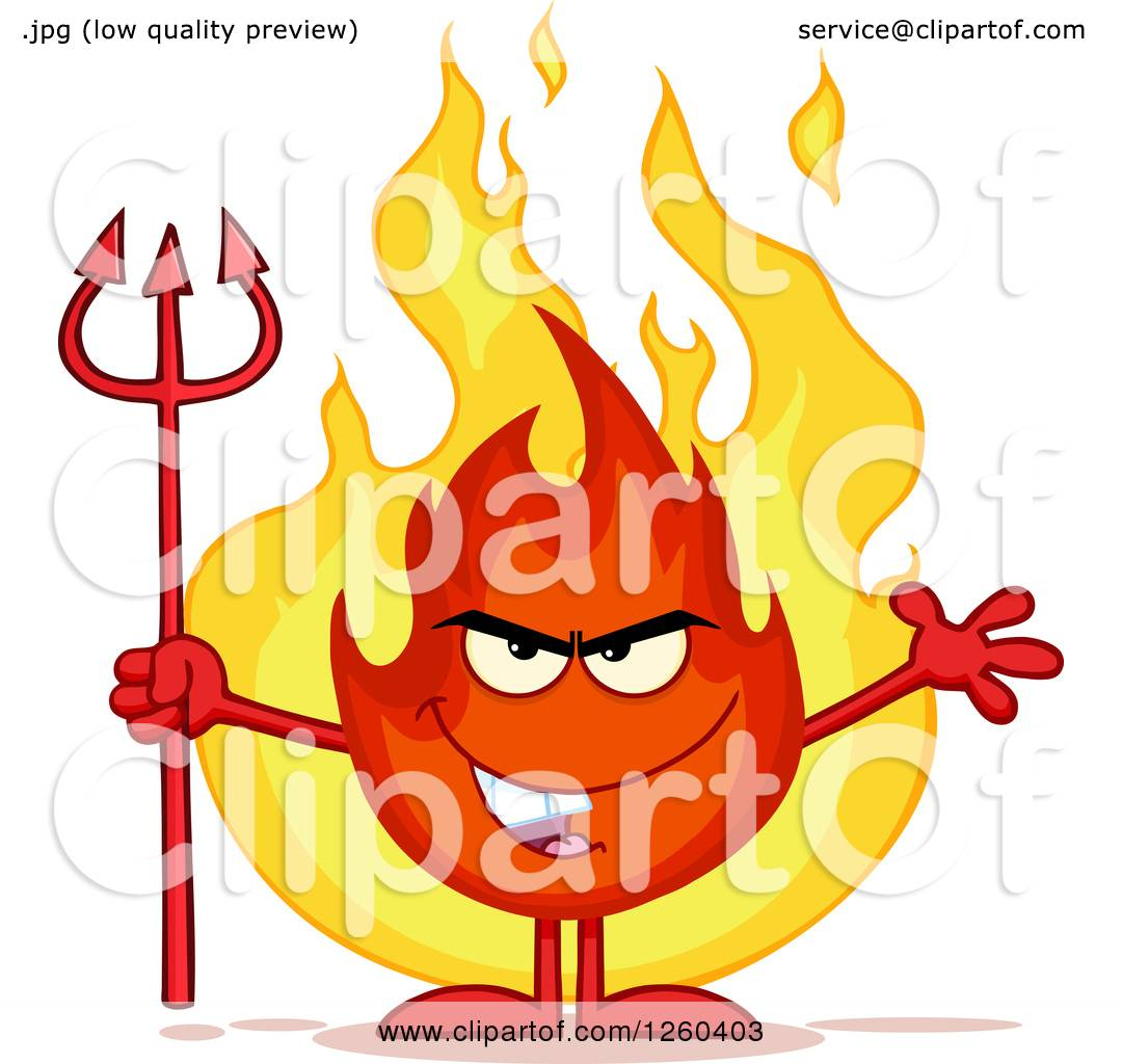 hight resolution of clipart of a grinning evil fireball flame character holding a pitchfork royalty free vector illustration