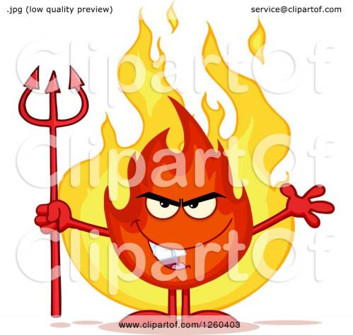 small resolution of clipart of a grinning evil fireball flame character holding a pitchfork royalty free vector illustration