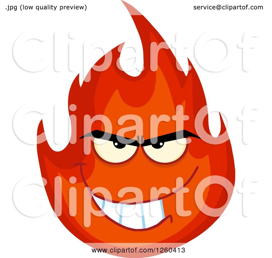 hight resolution of clipart of a grinning evil fireball flame character royalty free vector illustration by hit toon