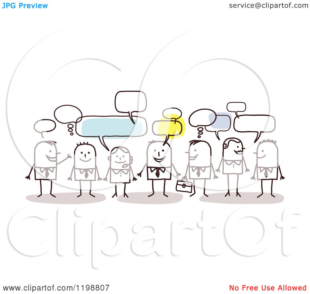 Clipart Of A Group Of Business Stick People Networking And Talking