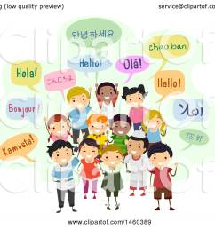 clipart of a group of children and speech bubbles saying hello in different languages royalty [ 1080 x 1024 Pixel ]